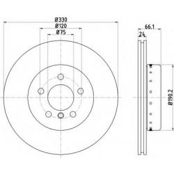 Диск тормозной передний оригинал реставрированный D=330mm для BMW 5,  front Brake Disc 34116794429